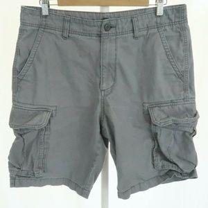 Old Navy 33 Gray Khaki Cargo Shorts Pockets Men's